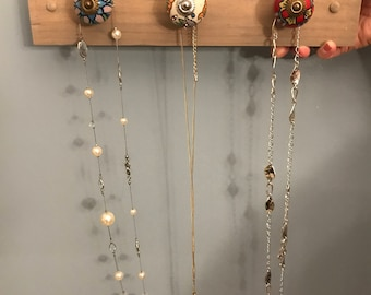 Reclaimed Wood Necklace Holder with decorative knobs