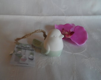 ceramic bird color green and white with Ribbon for hanging hanging Christmas decoration