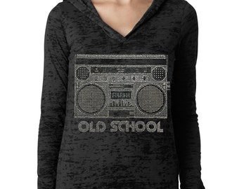 Old School Ghetto Blaster Rhinestone Ladies Burnout Hoodies