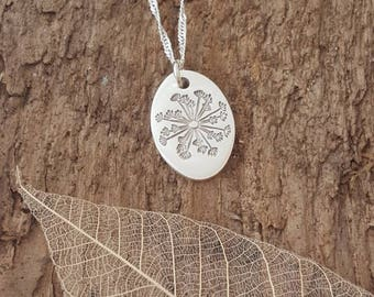 Handmade solid Fine silver dandelion/seed head pendant/necklace