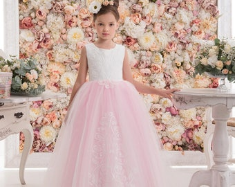 Candy Pink Flower Girl Dress -- Candy Pink Floor Length Tulle Dress -- Pink & White Dress for Flower Girl