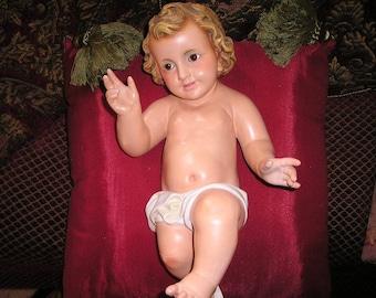 "Vintage Awesome 14""  Baby Jesus Creche Figure Nativity Statue Spanish Christ Child."