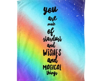 Rainbow Kids Gift, Kids Throw Blanket, Rainbow Fleece Blanket, Rainbow Baby Blanket, Rainbow Bedding, Rainbow Kids Room, Kids Quote Blanket