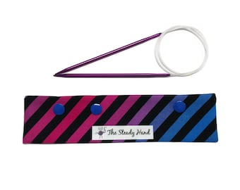 "Small Diagonal Stripe Black, Blue, Pink & Purple Swizzle Stix DPN Circular Project Holder for needles up to 7-1/2"" long S256"