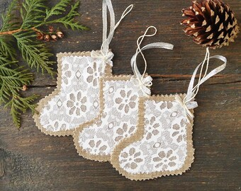 Burlap and Lace Christmas Stockings, Christmas decoration, Burlap Christmas ornament, Rustic Christmas Home Decor, Christmas garland