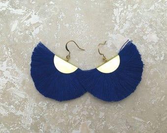 Capri Tassel Fringe Earrings, Navy Blue Earrings, Lightweight Earrings, Fashion Jewelry, Navy Blue, Wedding, Holidays, Boho Earrings