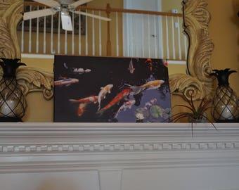 Canvas art, canvas wall art, koi fish