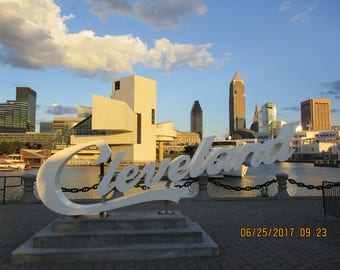 Cleveland Sign With The Skyline