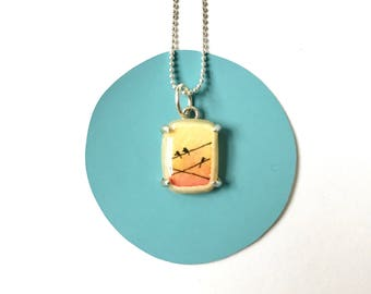 Necklace with Hand-Painted Pendant // Solid Sterling // Lemon Yellow & Tangerine Sky // Pendant Charm Love Birds on Wires Silhouette
