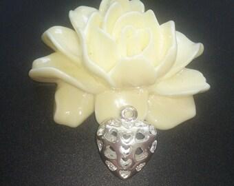 3 pendants openwork heart charm silver 23 mm (28A) x19.5