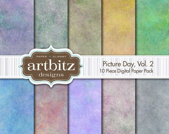 "Picture Day, Vol. 2, 10 Piece Photo Background Digital Scrapbooking Paper Pack, 12""x12"", 300 dpi .jpg, Instant Download!"