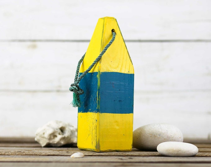 """Beach Decor, 11"""" Old-style lobster float buoy, Yellow, Blue,  Vintage Style, Nautical, by SEASTYLE"""