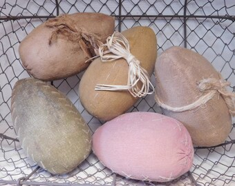 Primitive Look Handmade Easter Spring Eggs - Set of Five