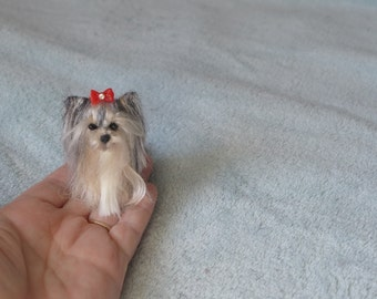 Pet Gift  Your dog as a cute Pin / Custom  Needle Felted Miniature Pet Portrait / Sculpture Brooch / example Yorkie