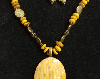 Unique, one-of-a-kind, handmade fossil palm wood necklace and earrings