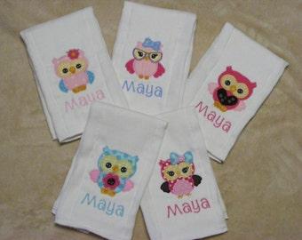 Personalized Owls Burp Cloth  or Bib SINGLES - set 2