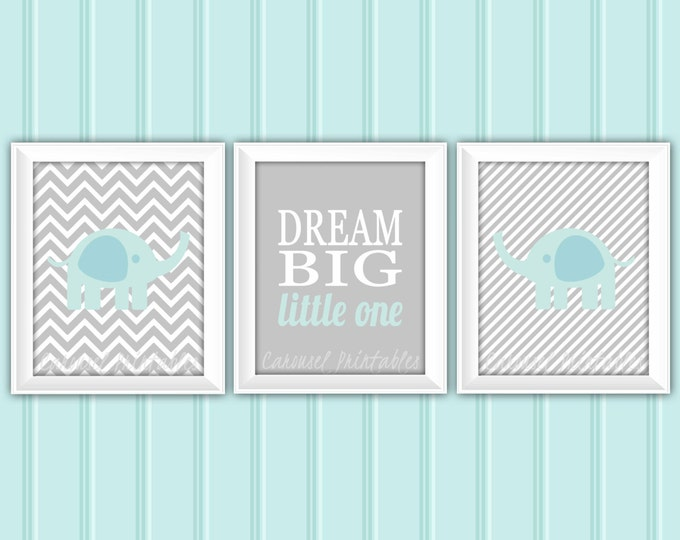 Elephant Wall Art Set, Elephant Wall Art, Blue and Gray, Instant Download, Childrens Wall Art, Kids Wall Art, Nursery Wall Art, DIY Wall Art