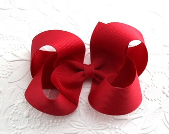 """Large Cranberry Boutique Hair Bow ~ Fall Hair Bow ~ 5"""" Hair Bow ~ Thanksgiving Hair Bows ~ Toddlers, Girls, Cranberry Hair Bow Clip"""