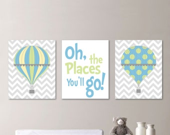 Hot Air Balloon Nursery - Hot Air Balloon Art - Hot Air Balloon Print - Boy Nursery Art Print - Boy Bedroom Art Print - Blue Green - NS-538