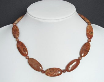 Necklace Red Fossil Coral 30mm Flat Oval 925 NSFC6032