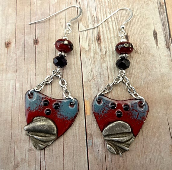 Boho Rustic Dark Red and Blue Enamel Earrings