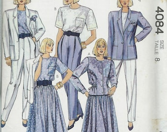 The Villager McCall's 4084 Misses Lined Jacket, Blouses, Skirt and Pants Pattern, Size 8 UNCUT