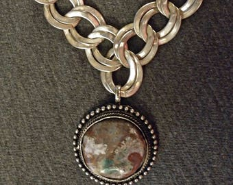 Repurposed Silver Chain and Agate Pendant