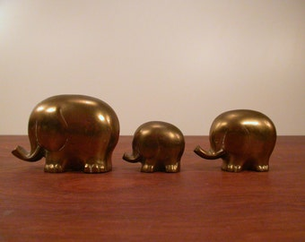 Brass Elephant Herd, 3 Vintage Brass Elephants