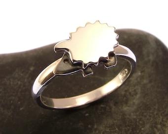 Sterling Silver Hedgehog Ring - Hedgehog Jewellery - Hedgehog Gift