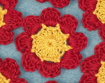 10 handmade gold and red crochet flowers --  175