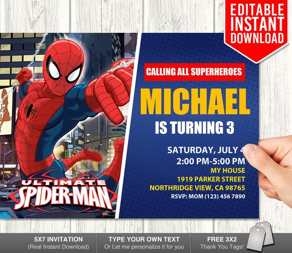 spiderman invitation instant download spiderman editable