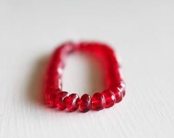 50 Red Czech Glass Rondelles 3x5mm