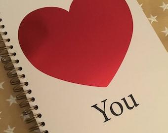 Personalised Valentines Notebook
