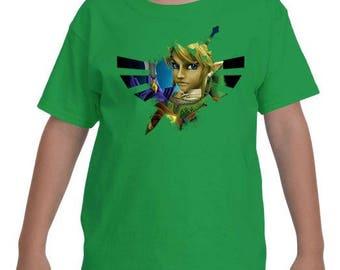 YOUTH -- Legend of Zelda Link Triforce Logo Fan Art Top