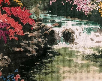 SUMMERSALE Thomas Kinkade, Painter of Light, Beside Still Water, Designed for, Counted Cross Stitch, or Needlepoint, Candamar Designs, Chart