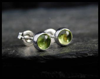 August birthstone earrings - Natural green peridot gemstone 5mm, in a sterling silver bezel, Ready to ship. 231