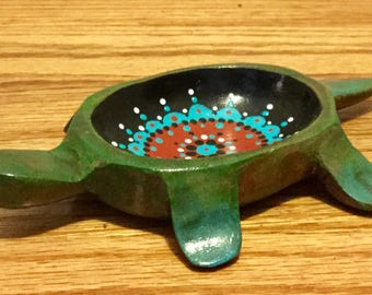 Turtle Dish, Hand-painted Wooden Turtle