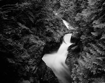 Twin Falls Waterfall, Washington Landscape Black and White Print in a Wood Frame