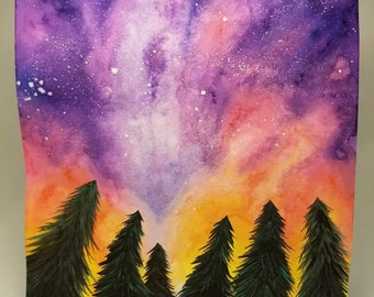 11x14 Original Watercolor painting , northern lights , forest , winter