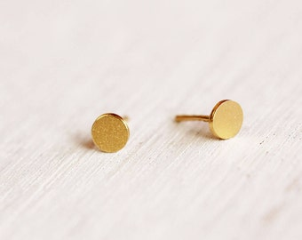 Tiny Gold Round Earrings, Tiny Studs, Gold Plated Stud Earrings, Small Stud Earrings, Delicate Post Earrings, Dainty Gold Post Earrings