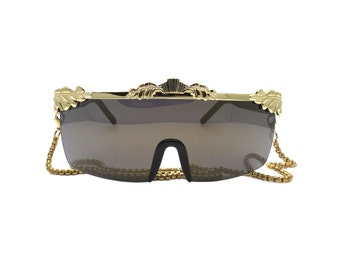 Vintage Wrap Around Sunglasses with Gold Leaf Detail and Chain - AGATE