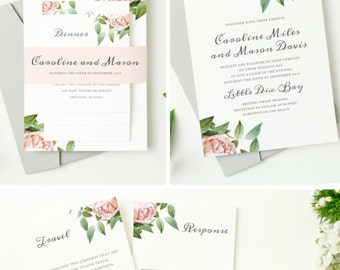 INSTANT DOWNLOAD | Printable Pocket Wedding Invitation | Vintage Botanical | Edit in Word or Pages | Print it Yourself | Mac & PC