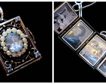 Vintage Coro 4 Picture Locket Necklace - London Blue Topaz