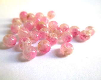 20 speckled pink and white 4mm transparent beads