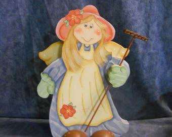 Garden Angel Girl Wood Figurine