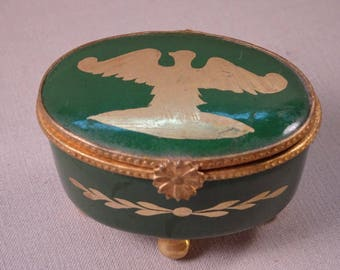Limoges Trinket Box with Eagle Design Hand Painted France