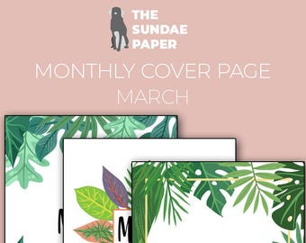 Set of Tropical Leaves Bullet Journal Monthly Covers | March 2018