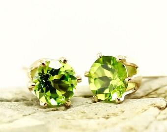 Genuine Natural Peridot 5mm Stud Earrings in Yellow Gold Filled or 925 Sterling Silver Studs, Natural Gemstone earrings, August Birthstone