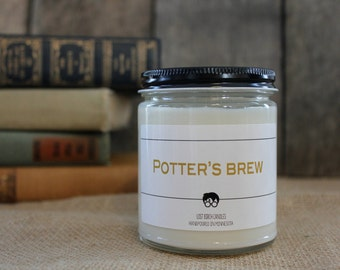 Potter's Brew - Book Inspired Scented Soy Candles -  8oz glass jar
