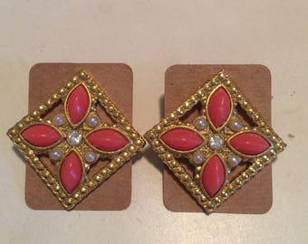 Coral, Gold and Pearl Vintage Statement Earrings - Costume Jewelry